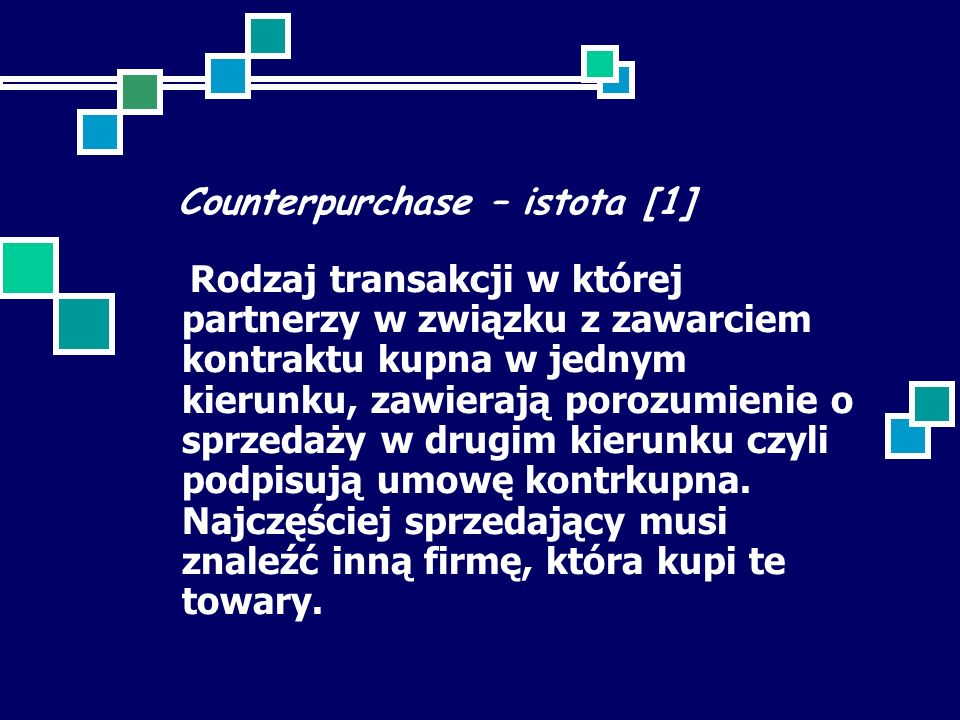 Counterpurchase – istota [1]